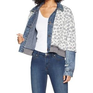 Free people rare Floral Disty Jacket Blue Denim